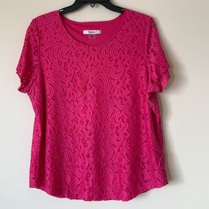 Tanjay Fuchsia short sleeve L Lace with lining top